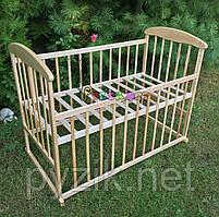 Кровать детская Наталка ясень светлая  (колеса, качалка, опускание борта)