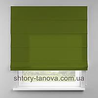 Римская штора 160x170 см из однотонной ткани, фисташка, 75%хб 25%пэ