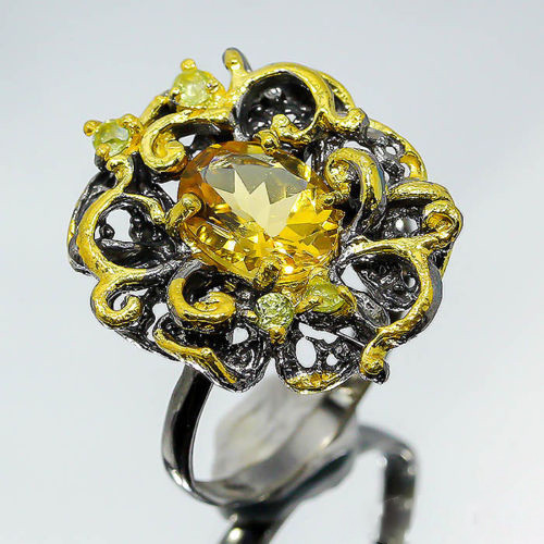 Цитрин, серебро 925, кольцо ручной работы, 590КЦ