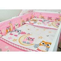 Защита бампер в детскую кроватку  из двух частей Совы розовый