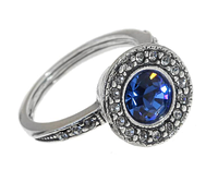"""Кольцо """"Лоо"""" с кристаллами Swarovski, покрытое серебром (d4763040)"""