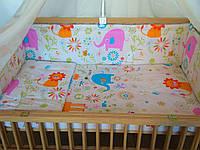 Набор постельного белья в детскую кроватку из 6 предметов Слоники