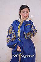 Платье лен вышитое золотой нитью, бохо, вышиванка, этно, бохо-стиль, вишите плаття вишиванка, Bohemian