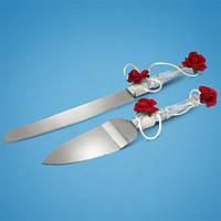 Набор для свадебного торта: нож и лопатка для торта с украшениями на ручках в виде красных роз
