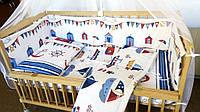 Комплект постельного белья в детскую кроватку Кораблики  из 3-х элементов
