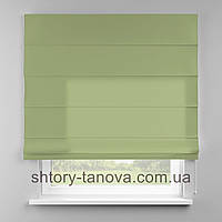 Римская штора 160x170 см из однотонной ткани, зелёный чай, 75%хб 25%пэ