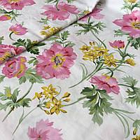 Сатин с крупными розовыми и мелкими желтыми цветами на белом фоне, ширина 220 см, фото 1