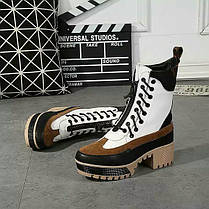 Ботинки демисезонные на каблуке кожа , фото 3