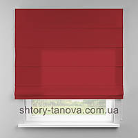 Римская штора 160x170 см из однотонной ткани, красный, 75%хб 25%пэ
