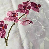 Сатин с крупной сиреневой веткой орхидеи на белом фоне, ширина 220 см, фото 1