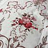 Сатин с крупными красными и розовыми цветами на белом фоне, ширина 220 см
