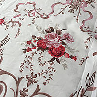 Сатин с крупными красными и розовыми цветами на белом фоне, ширина 220 см, фото 1