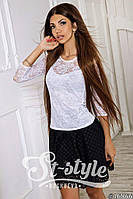 Блузка гипюровая с рукавом три четверть