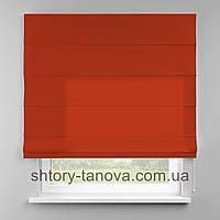 Римская штора 160x170 см из однотонной ткани, мандарин, 75%хб 25%пэ