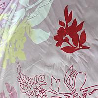 Сатин с крупными цветами и ветками на бледном сиреневом фоне, ширина 220 см, фото 1