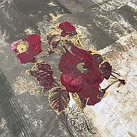 Сатин с крупными бордовыми цветами на песочном и хаки фоне, ширина 220 см, фото 1