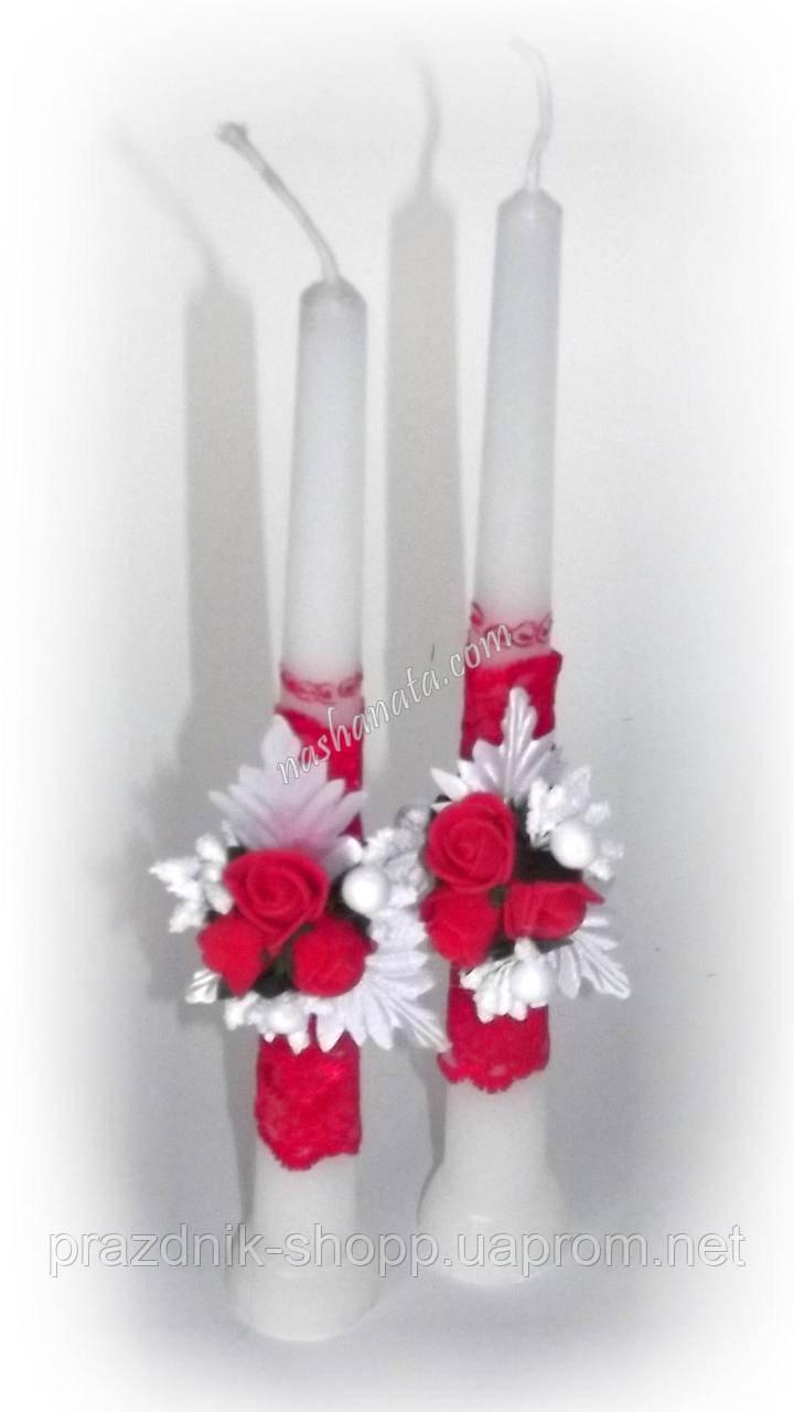 """Свечи свадебные """"Родительские"""". Красные."""