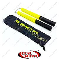Нунчаку тренировочные соед. шнуром Kepai 666 (пластик, неопрен, PL, желто-черный)