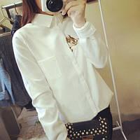 """Блузка белая с вышивкой """"Котик"""""""