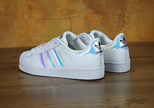 Женские кроссовки Adidas Superstar Iridescent GS White, фото 3