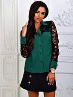 Стильная блузка с гипюровыми рукавами