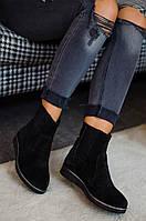 Женские осенние ботинки из натурального замша на резинках