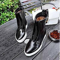 Для женщин Ботинки Удобная обувь Армейские ботинки Полиуретан Зима Повседневные Удобная обувь Армейские ботинки На плоской подошве Черный 05684828