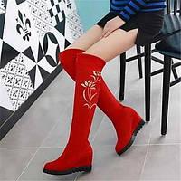 Для женщин Ботинки Туфли Мери-Джейн Полиуретан Зима Повседневные Туфли Мери-Джейн На плоской подошве Черный Красный СинийНа плоской 05683308