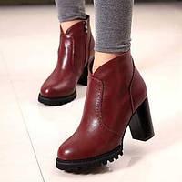 Черный / Красный - Женская обувь - На каждый день - Дерматин - На толстом каблуке - С круглым носком / Модная обувь - Ботинки 04422509