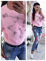 Нежный женский свитер (вязка ангора травка, длинные рукава, декор бусины, круглая горловина) РАЗНЫЕ ЦВЕТА!