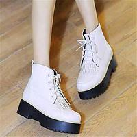 Для женщин Ботинки Удобная обувь Армейские ботинки Полиуретан Зима Повседневные Удобная обувь Армейские ботинки На плоской подошвеБелый 05684842