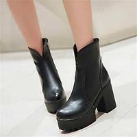 Для женщин Ботинки Удобная обувь Армейские ботинки Полиуретан Зима Повседневные Удобная обувь Армейские ботинки На плоской подошвеЧерный 05685252