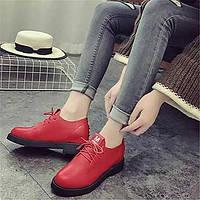 Для женщин Ботинки Удобная обувь Полиуретан Зима Повседневные Удобная обувь На танкетке Белый Черный Красный На плоской подошве 05707446