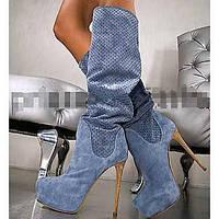 Черный / Синий / Серый / Оранжевый - Женская обувь - Для офиса / Для праздника / Для вечеринки / ужина - Замша - На шпильке - Модная обувь 04606439