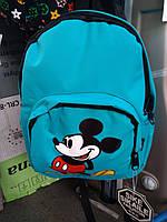 Модный рюкзак голубого цвета с рисунком Микки Маус