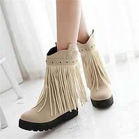 Для женщин Ботинки Удобная обувь Армейские ботинки Полиуретан Зима Повседневные Удобная обувь Армейские ботинки На плоской подошвеЧерный 05684884