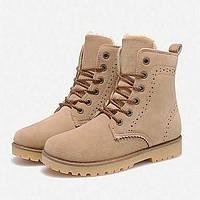 Черный / Синий / Красный / Хаки - Женская обувь - На каждый день - Кожа - На низком каблуке - Теплая зимняя обувь - Ботинки 02259913