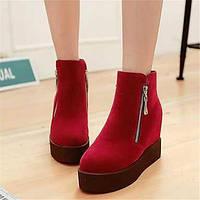 Для женщин Ботинки Удобная обувь Армейские ботинки Полиуретан Зима Повседневные Удобная обувь Армейские ботинки На плоской подошвеЧерный 05684821