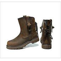 Для женщин Ботинки Модная обувь Кожа Осень Зима Повседневные Модная обувь На плоской подошве Коричневый На плоской подошве 05318901