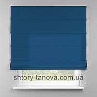 Римская штора 160x170 см из однотонной ткани, сине-голубой, 75%хб 25%пэ