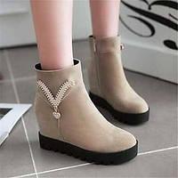 Для женщин Ботинки Удобная обувь Армейские ботинки Полиуретан Зима Повседневные Удобная обувь Армейские ботинки На плоской подошвеЧерный 05684886