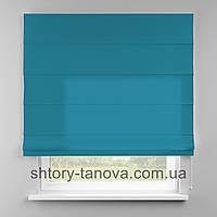 Римская штора 160x170 см из однотонной ткани, небесно-голубой, 75%хб 25%пэ