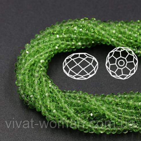 Бусины овал (Rondelle) 3х4 мм Peridot (lt. green). Цена за 1 шт