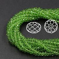 Бусины овал (Rondelle) 3х4 мм Peridot (lt. green). Цена за 1 шт, фото 1