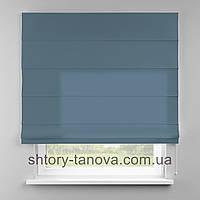 Римская штора 160x170 см из однотонной ткани, светло-голубой, 75%хб 25%пэ