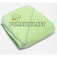 Детское махровое (очень длинная петля) уголок-полотенце после купания 95х95 см ТМ Ярослав 3073 Салатовый
