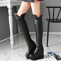 Для женщин Ботинки Удобная обувь Полиуретан Зима Повседневные Удобная обувь На плоской подошве Белый Черный На плоской подошве 05685649
