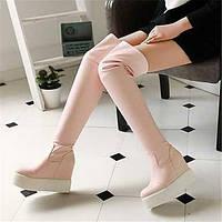 Для женщин Ботинки Удобная обувь Полиуретан Зима Повседневные Удобная обувь На плоской подошве Черный Розовый На плоской подошве 05683337