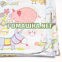 Белая детская ситцевая (ситец) пеленка 110х90 см с русунками для пеленания тонкая 3115-26 Голубой