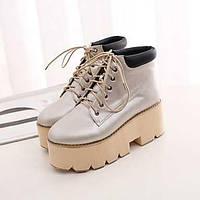 Коричневый / Серебристый / Серый - Женская обувь - На каждый день - Дерматин - На платформе - Сапоги для верховой езды - Ботинки 04351397